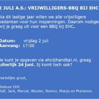 2 juli a.s.: vrijwilligers-BBQ bij EHC!